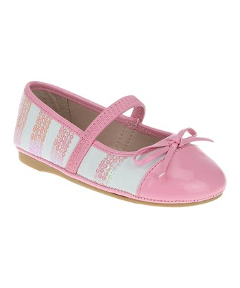 White & Bubblegum Sequin Strap Flat