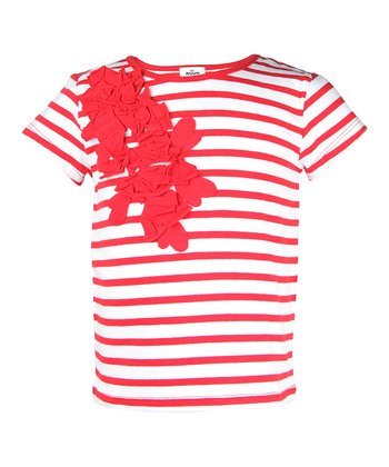 Cherry Filling Stripe Ruffle Bouquet Tee - Infant, Toddler & Girls