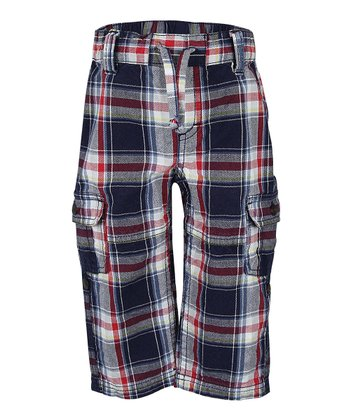 Deep Navy Plaid Roll-Up Pants - Infant, Toddler & Boys