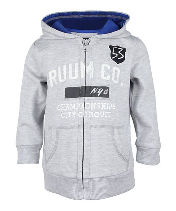 Heather Gray 'RUUM NYC' Zip-Up Hoodie - Infant, Toddler & Boys
