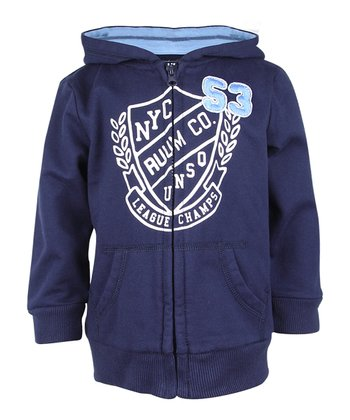 Deep Navy 'RUUM NYC' Zip-Up Hoodie - Toddler
