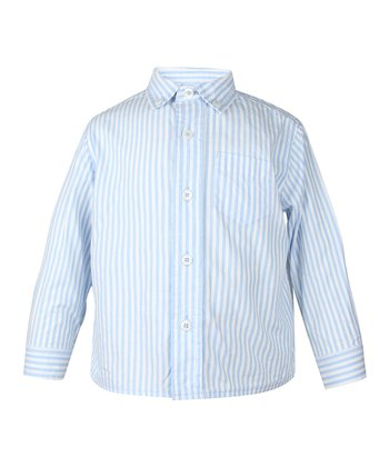 Sailing Blue Stripe Button-Up - Infant, Toddler & Boys