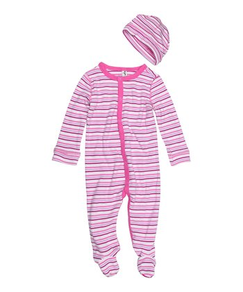 Baby Pink Stripe Footie & Beanie - Infant