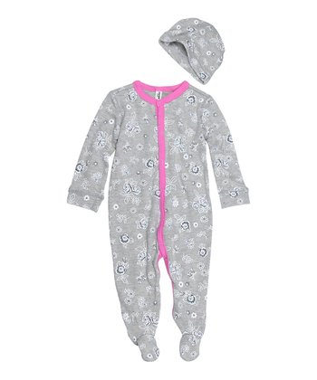 Heather Gray Floral Footie & Beanie - Infant