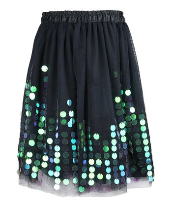 Ebony Gray Paiette Skirt - Girls