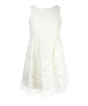 Chic Cream Lace Dress - Girls