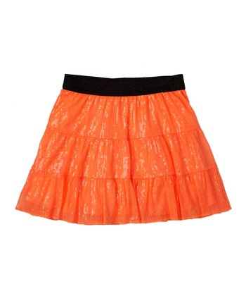 Neon Orange Tiered Sequin Skirt - Girls