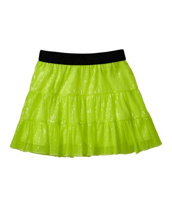 Neon Yellow Tiered Sequin Skirt - Girls