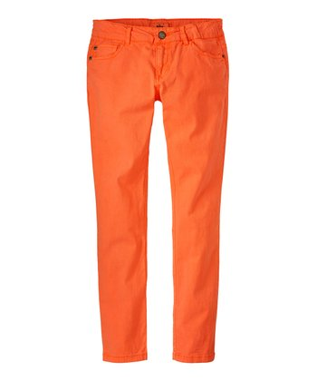 Neon Orange Skinny Pants - Girls