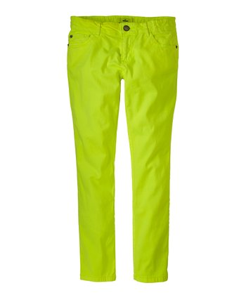 Neon Yellow Skinny Pants - Girls