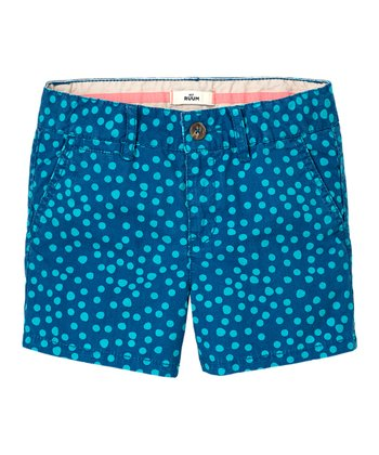 Lake Blue Polka Dot Shorts - Girls