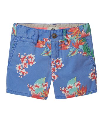 Periwinkle Blue Floral Shorts - Girls