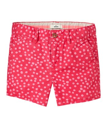 Raspberry Polka Dot Shorts - Girls