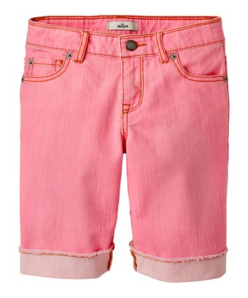 Dazzling Pink Denim Bermuda Shorts - Girls
