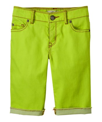 Neon Limon Denim Bermuda Shorts - Girls