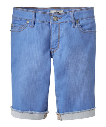 Periwinkle Blue Denim Bermuda Shorts - Girls