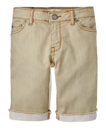 Stone Denim Bermuda Shorts - Girls