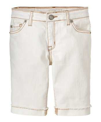 White Denim Bermuda Shorts - Girls