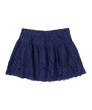 Indigo Bottle Lace Skirt - Girls