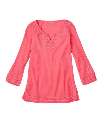 Neon Rose Embroidered Cover-Up - Girls