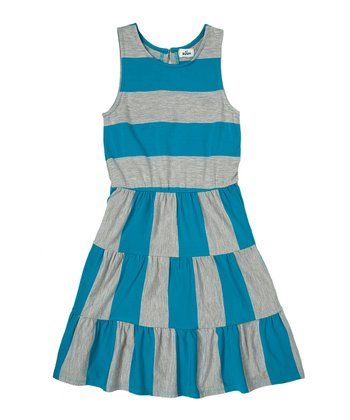 Bay Blue Stripe Dress - Girls