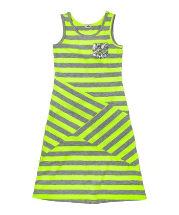 Neon Yellow Stripe Sequin Dress - Girls