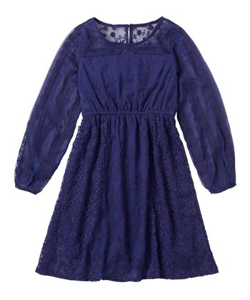 Indigo Bottle Chiffon Eyelet Dress - Girls