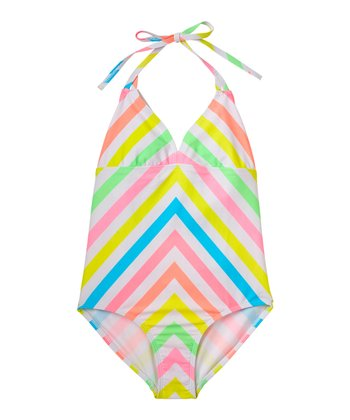 Pink & Green Stripe Halter One-Piece - Girls