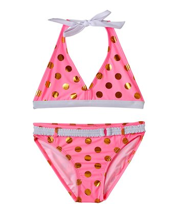 Cotton Candy Polka Dot Bikini - Girls