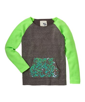 Lime Sequin Pocket Fleece Top - Girls