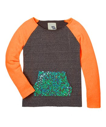 Orange Sequin Pocket Fleece Top - Girls