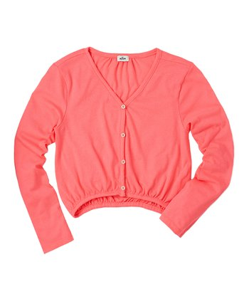 Neon Rose Cardigan - Girls
