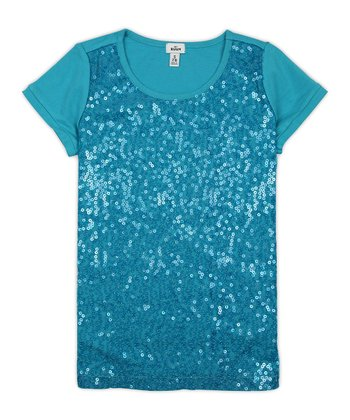 Bay Blue Sequin Tee - Girls