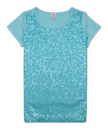 Blue Dream Sequin Tee - Girls