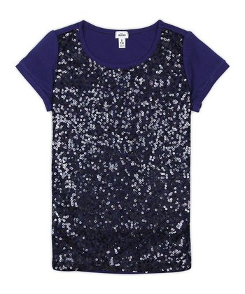 Indigo Bottle Sequin Tee - Girls