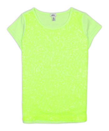 Neon Limon Sequin Tee - Girls
