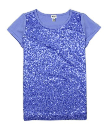 Periwinkle Blue Sequin Tee - Girls