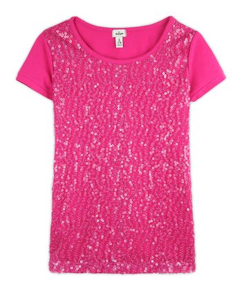 Raspberry Sequin Tee - Girls