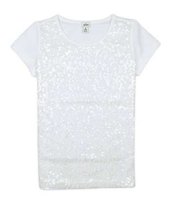 White Sequin Tee - Girls