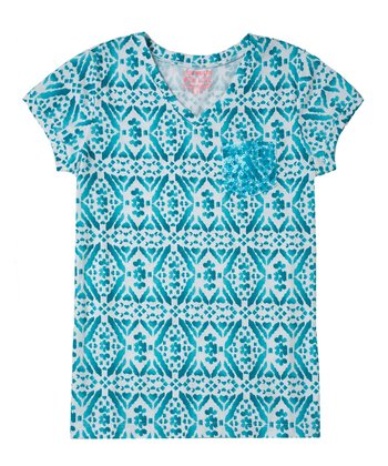 Bay Blue Diamond Sequin Tee - Girls