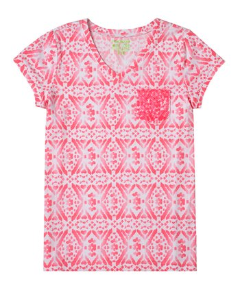 Dazzling Neon Pink Diamond Sequin Tee - Girls