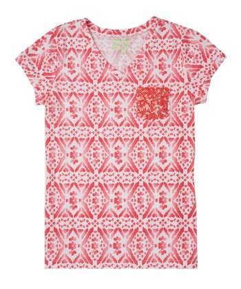 Guava Jam Diamond Sequin Tee - Girls