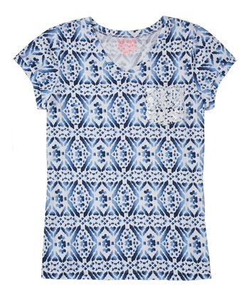 Indigo Bottle Diamond Sequin Tee - Girls
