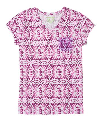 Magenta Purple Diamond Sequin Tee - Girls