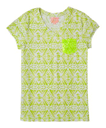 Neon Limon Diamond Sequin Tee - Girls