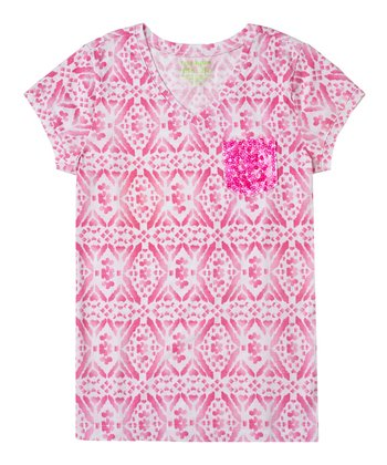 Peony Diamond Sequin Tee - Girls