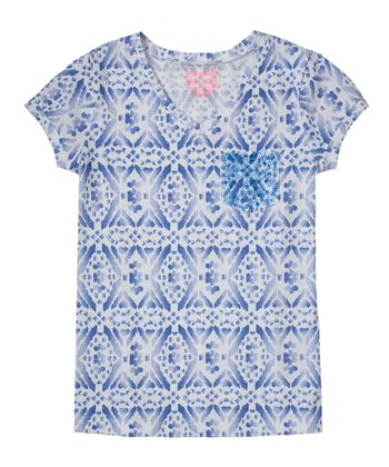 Periwinkle Blue Diamond Sequin Tee - Girls