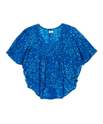 Deep Oceanic Blue Cape-Sleeve Top - Girls