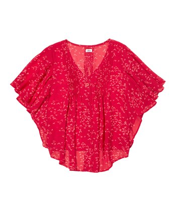 Ripe Tomato Cape-Sleeve Top - Girls