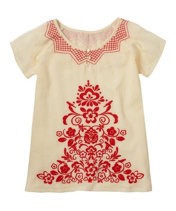 Vanilla Embroidered Top - Girls
